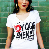 JCLU Forever Christian t-shirts — 007-LOVE YOUR ENEMIES WHITE V-Christian T-Shirt