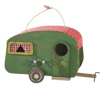 Decorative Camper Birdhouse (Green with Red Polka Dot Roof)