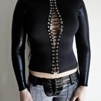 Handmade Sexy Black lace up top,Long Sleeve shirt,corset style,ajustable on front