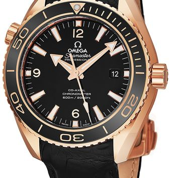 Omega Seamaster Planet Ocean 600M Mens Rose Gold Dive Watch Automatic - 42mm Black Face with Luminous Hands Sapphire Crystal Diving Watch - Swiss Made Black Leather Band Waterproof Diver Watch for Men