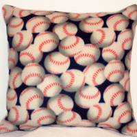 "Pillow Covers 18"" Set of Two - Blue Baseball Pattern"