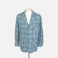 Vintage 60s PENDLETON JACKET / 1960s Men's Blue Plaid Wool 49er Blazer M