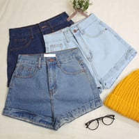 Classic Denim High Waisted Shorts