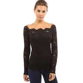 Women Lace Blouse Casual Long Sleeve Plus Size Off The Shoulder Tops For Women Sexy Lace Embroidery Black White Blouses