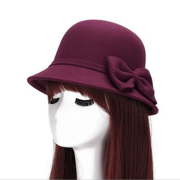 2017 Spring Fashion Vintage Women Ladies Wool Fedora Hat Bucket Dome Bell Bow Felt Hats Women Cap Hats Hat 6 color