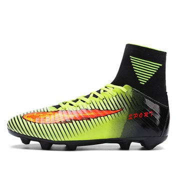 Football Shoes With Sock New Cool High Ankle Football Boots Anti-Slip Mens Soccer Cleats Damping Mens Football Turf Shoes