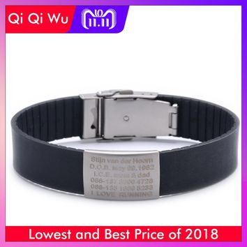 Silicone Custom Kids ID Bracelet Child Engraved Identification Bracelets Baby SOS Wrist Band Boys ID Safety Children Wristband