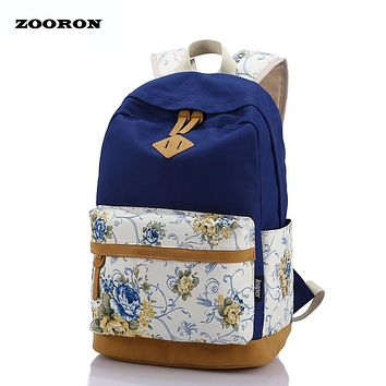 ZOORON Flower Printing Female Canvas Backpack Women Korean Style Leisure Travel Backpack Campus Students Backpack For Girls