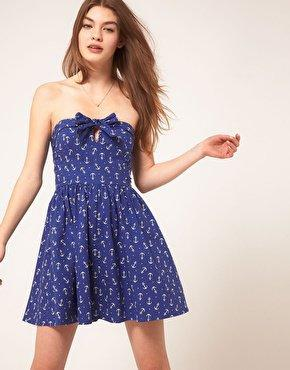 Bandeau Summer Dress In Anchor Print