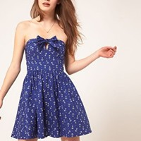 ASOS | ASOS Bandeau Summer Dress In Anchor Print at ASOS