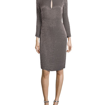 Long-Sleeve Round-Neck Beaded Dress, Granite, Size:
