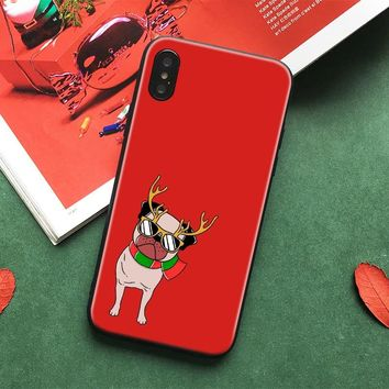 Cute Christmas Day xmas deer pug Soft Silicone Phone Case Shell cover For Apple iPhone 5 5s Se 6 6s 7 8 Plus X XR XS MAX