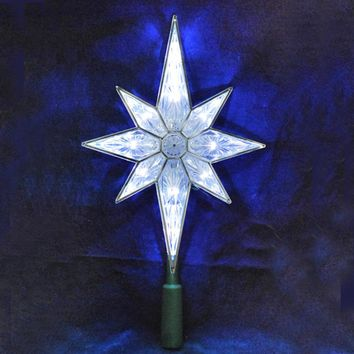 """10.5"""" Lighted LED 8-Point Star Christmas Tree Topper - Pure White Lights"""