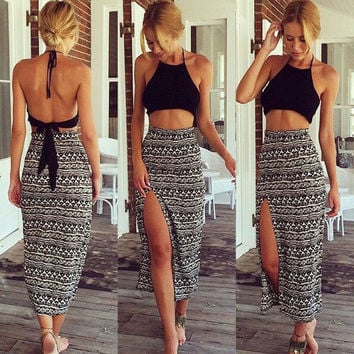 Black Backless Halter Crop Top and Maxi Skirt with Side Slit Two-Piece Dress