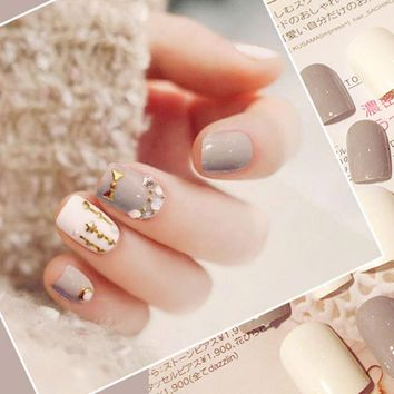 24pcs/Set Elegant High Grey UV False Nails Rhinestone Full Cover Finger Art fake nails with Glue Girl Artificial Full Nail Tips