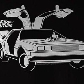 Back To The Future Movie Car Open Delorean Licensed Mens Adult T-Shirt