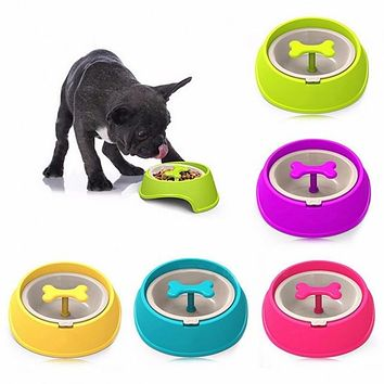 Pet Dog Cat Driking Water Fun Bone Shaped Slow Feeder Dog Food Bowls Water Bowl Dishes in Assorted Colors for Puppy Small Large Dog Pet Feeding