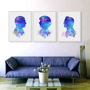 Watercolor Sherlock Pop Movie Poster Prints Abstract Holmes Pictures London Hippie Canvas Painting Gifts Home Wall Art Decor