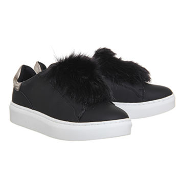 Office Pom Pom Fluff Trainers Black - Flats