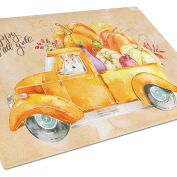 Fall Harvest Fox Terrier Glass Cutting Board Large CK2642LCB