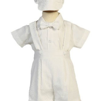 Poly Cotton Suspendered Shorts Baby Boy Christening Baptism Special Occasion Newborn Romper Outfit with Matching Hat - XL (18-24, 23-27 lbs)