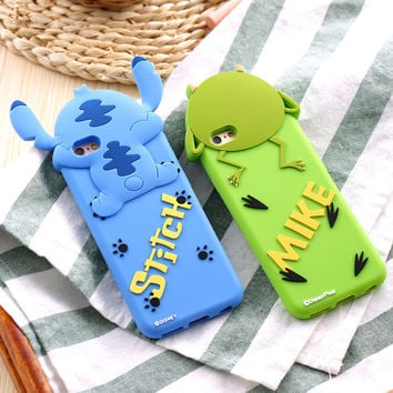 Cute 3D Lovely Cartoon Animal Stitch/Mike Pattern Phone Case For iPhone 7 6S Soft Silicon Back Cover Shell For iPhone 7 6S Plus