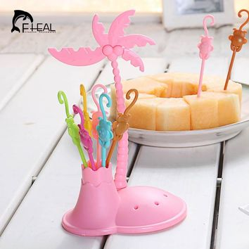 FHEAL Cute Coconut Tree Monkeys Creative Fruit Fork Set Plastic Fruit Forks Vegetable Fruit Dessert Fork Set Toothpick Holder