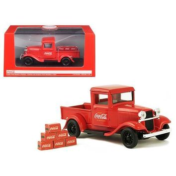 1934 Ford Model A Coca Cola Pickup Truck with 6 Bottle Cartons 1/43 Diecast Model Car by Motorcity Classics