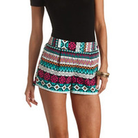 TRIBAL PRINT HIGH-WAISTED SHORTS