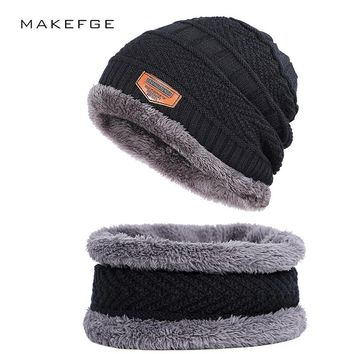 New and winter knitted men's hats outdoor warm loose comfortable caps thickening plus velvet hat bib two-piece beanies