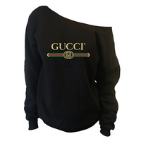 GUCCI Belt Inspired Womens Oversized Off-Shoulder Wide Neck Slouchy Sweatshirt