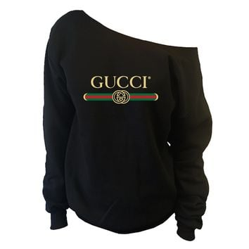 99ebd8f64dd GUCCI Belt Inspired Womens Oversized Off-Shoulder Wide Neck Slouchy  Sweatshirt