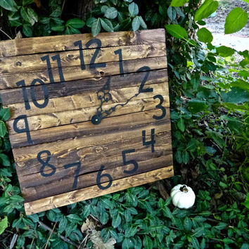 Large Rustic Hanging Wall Clock. Rustic Wall Clock. Wood Clock. Variable Sizes. Pallet Wood Clock. Square Clock. Hanging Rustic Clock.