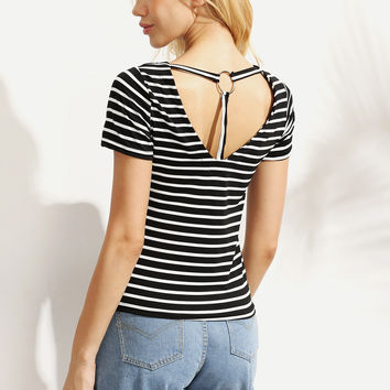 Black White Striped Ring Accent Back T-shirt