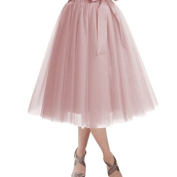 Women's Knee Length Tulle Skirt Tutu Skirt Evening Party Gown Prom Formal Skirts