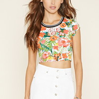 Striped-Neck Floral Crop Top | Forever 21 - 2000219923