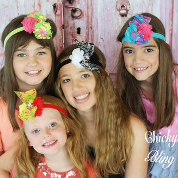 Girls Whimsical Chiffon Bow Headbands