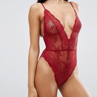 ASOS Bailey High Leg Lace Bodysuit at asos.com