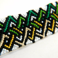 Green and Yellow Tribal Friendship Bracelet - woven zig zag pattern Macrame, perfect gift for Christmas Stockings