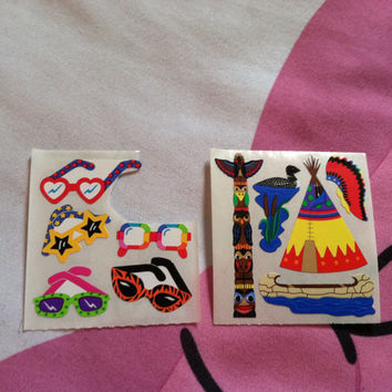 Lot of 2 Sandylion Stickers Sunglasses Hearts Rainbow Neon Star Cheetah Polka Dot Indian Cherokee American