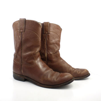 Brown Cowboy Boots Vintage 1980s Justin Roper Distressed Women's size 9