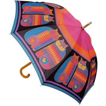 "Laurel Burch Stick Umbrella 42"" Canopy Auto Open-Rainbow Cat Cousins"