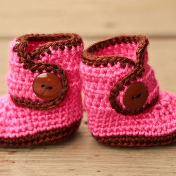 Crochet Baby Booties - Baby Boots - Pink and Brown Baby Shoes -  Chocolate and Pink Baby Booties - UGG Inspired