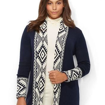 Lauren Ralph Lauren Plus Diamond-Pattern Shawl Collar Cardigan
