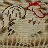 Proud Rooster Filet Crochet Art Doily - Farm Animal Art - Rooster Kitchen Decor - Primitive Country Decor - Table Top Decor - Fiber Wall Art