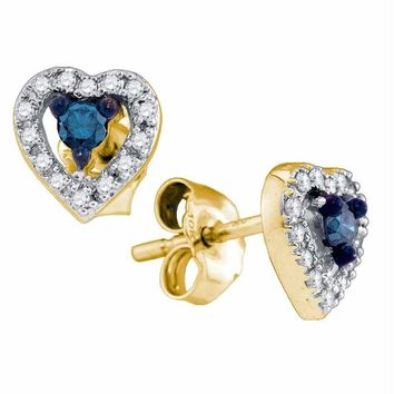 10k White Gold Women's Blue Diamond Heart Cluster Screwback Stud Earrings - FREE Shipping (US/CA)
