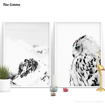 Scandinavian Decor White Owl Mountain Nordic Art Decor Posters and Prints Wall Picture for Living Room Wall Art Canvas Print
