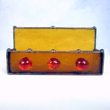 Honey Gold Handmade Stained Glass Business Card Holder w Three Golden Glass Nuggets from Dark Hollow Stained Glass