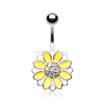 Adorable Daisy Sparkle Belly Button Ring (White/Yellow)
