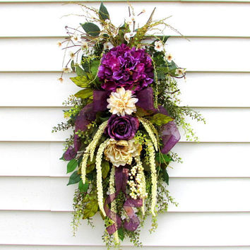 hydrangea door swag, teardrop swag wreath, purple wreath, french country cottage, front porch wreath, front porch decor, country home decor